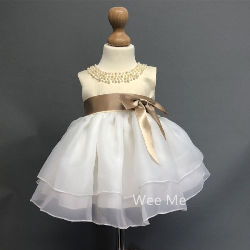 Baby Girl Tan Party Dress Neck Pearls